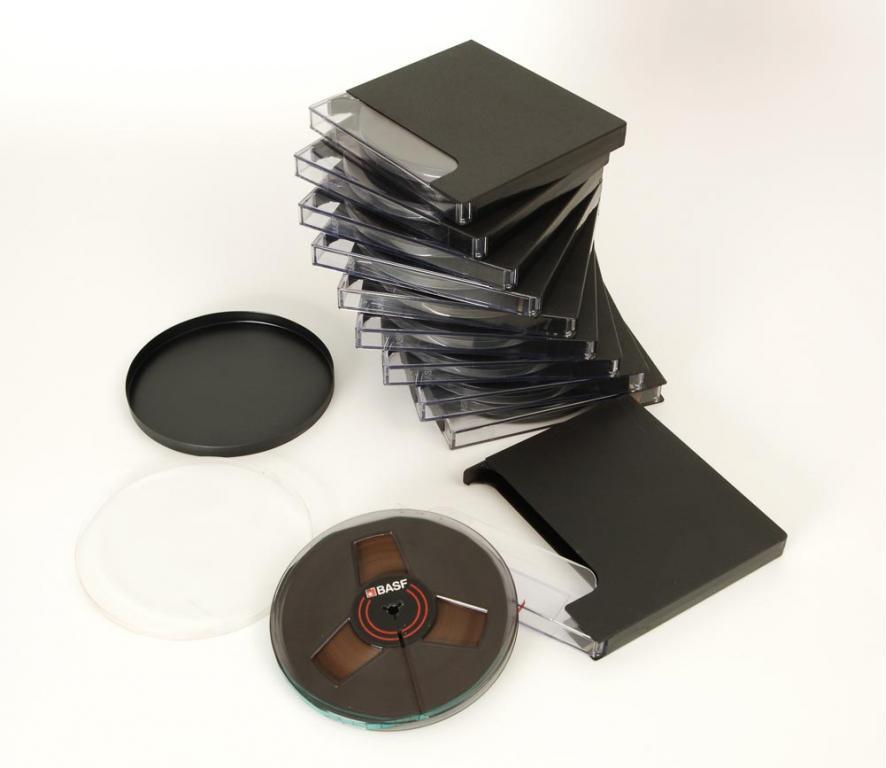 BASF 18er DIN Tonbandspule Kunststoff mit Band + Archivbox klar 10er Set