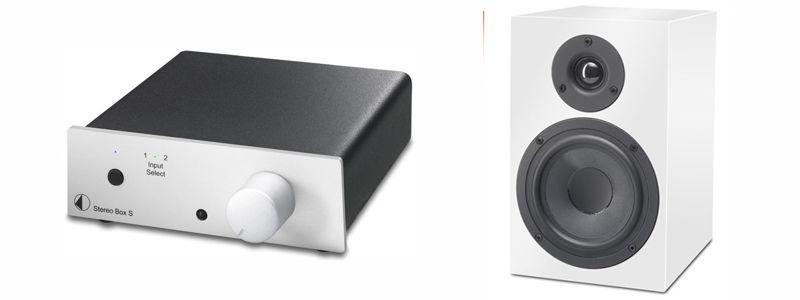 Pro-Ject Speaker Box 5 HG Weiß (Paar) und Stereo Box S Vollverstärker mit AC Netzteil (Neugerät)