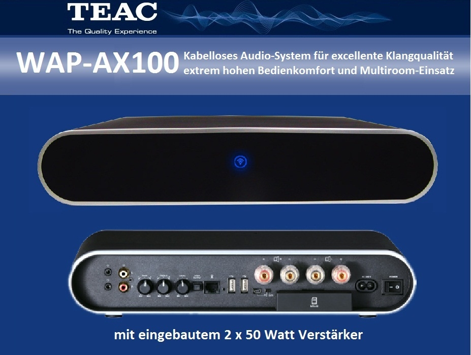 TEAC WAP-AX100  Wireless Audio-Receiver mit Verstärker 2 x 50 Watt