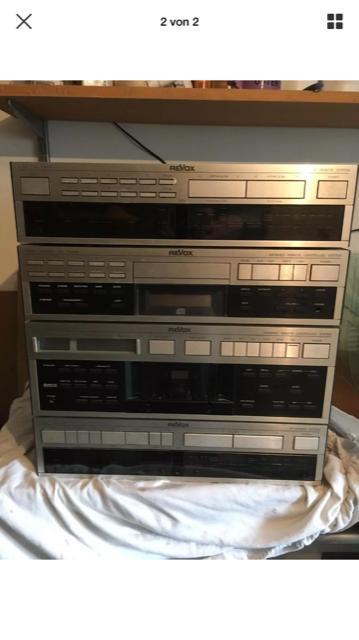 Tuner, Compact Disc Player, Cassette Tape Deck, Amplifier, Fernbedienung und 2 Lautsprecherboxen