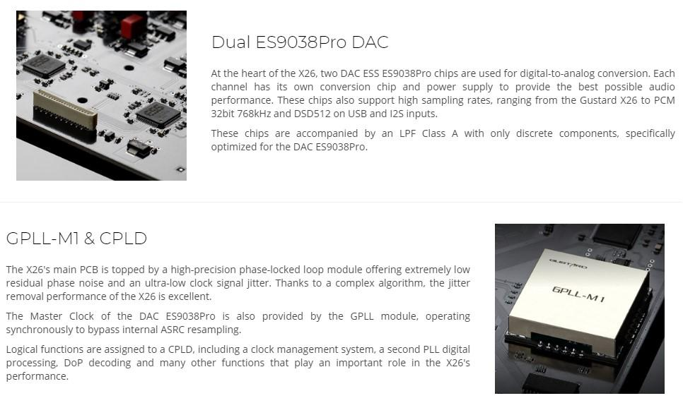GUSTARD X26 Balanced DAC 2x ES9038Pro GPLL-M1 32Bit 768kHz DSD512