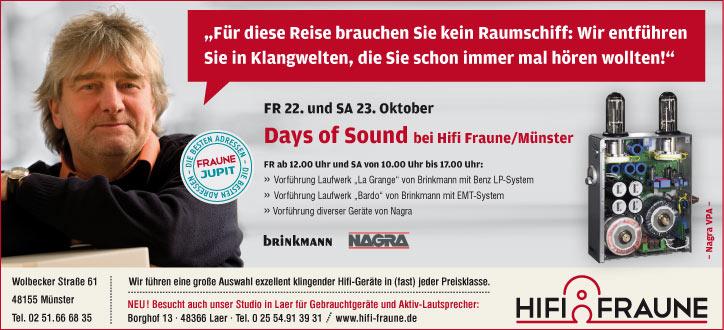 22.10. + 23.10. bei Hifi Fraune in Münster: Days of Sound