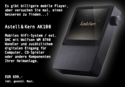 Astell & Kern AK 100 mobiles HiFi-System / ext. Wandler (WM8740)