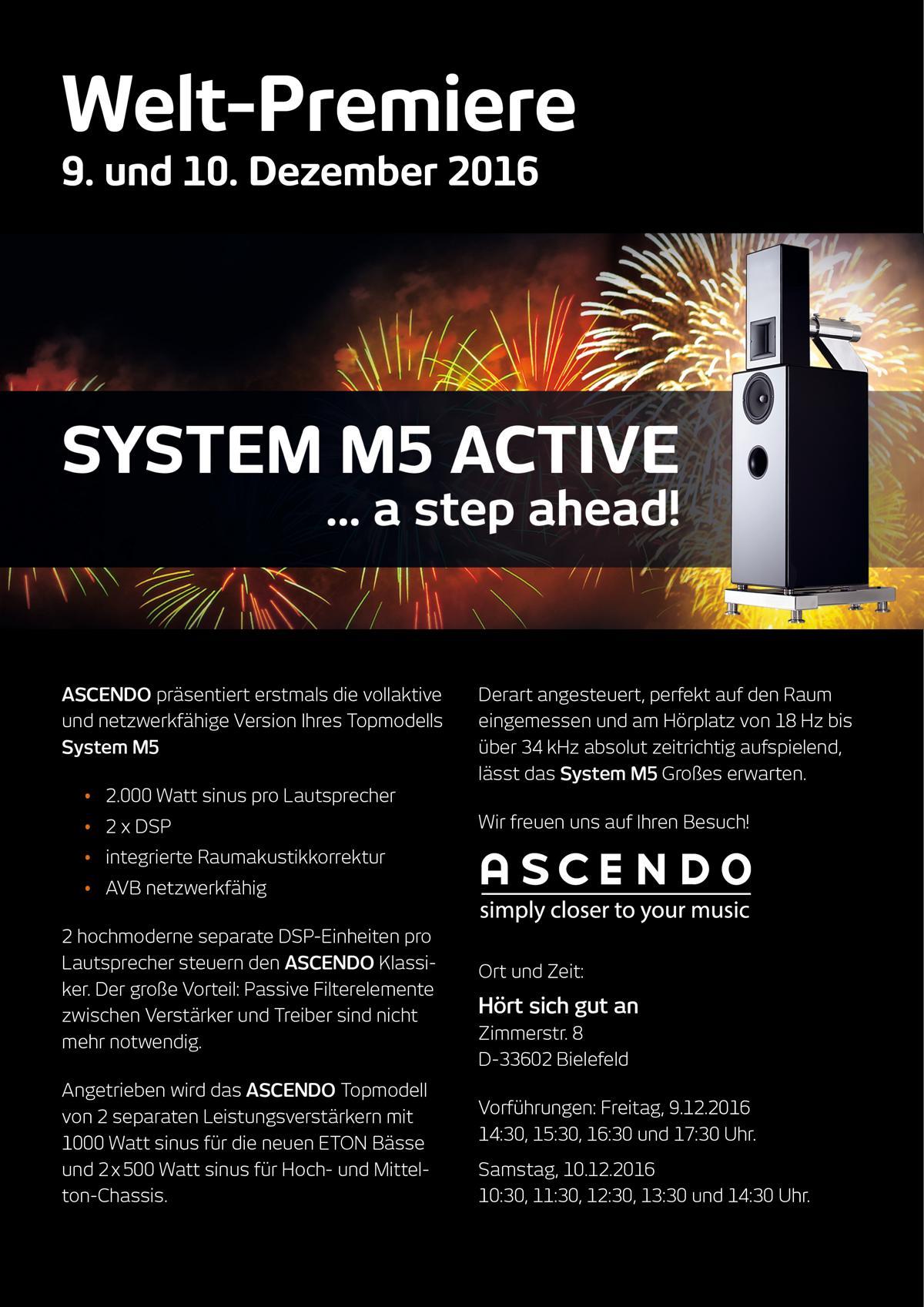 Weltpremiere Ascendo System M5 Activ