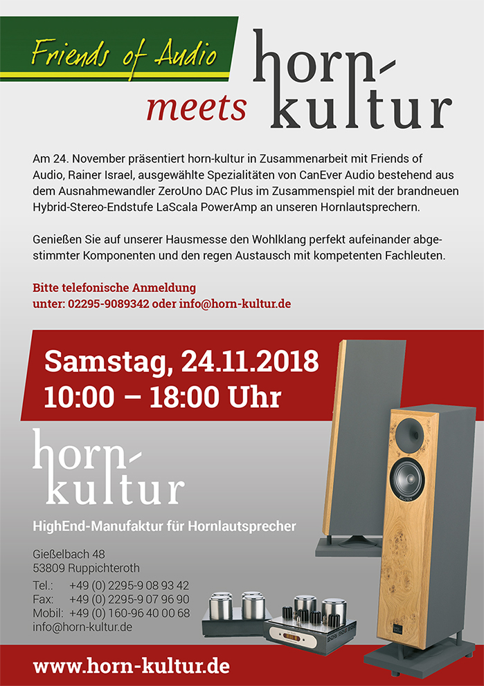 Friends of Audio meets horn-kultur am 24.11.2018
