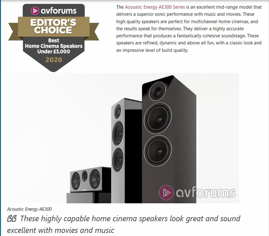AVForums: Best Home Cinema Speakers bis £3,000 – Acoustic Energy AE 300 Surround Lautsprecher Set unter 3500 GBP des Jahres : Acoustic Energy AE 300 in 5.1