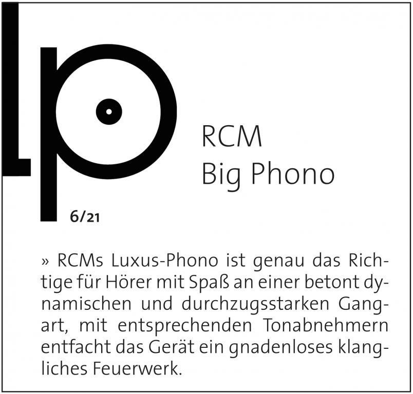 BIG PHONO von RCM  beim Test bei Hifi Statement und bei Holger Barske in der LP :